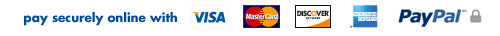 secure checkout with Visa, Mastercard, Discover,American Express and PayPal